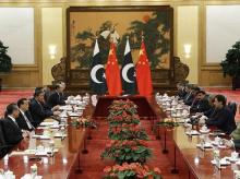 Beijing: Pakistan's Prime Minister Imran Khan, third right, meets with Chinese Premier Li Keqiang, second left, at the Great Hall of the People in Beijing on October 8, 2019. AP/PTI(
