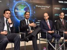 L to R --  Milind Lakkad, EVP and Global Head of HR, Rajesh Gopinathan, CEO & MD, N Ganapathy Subramaniam, COO & ED and V Ramakrishnan, CFO, TCS during a press conference announcing the financial results  Q2  in Mumbai on Thursday  10th Oct, 2019 - K