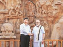 Prime Minister Narendra Modi with Chinese President Xi Jinping during their informal summit in Mamallapuram, Tamil Nadu, on Friday. Photo: PTI