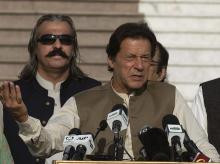 Islamabad:  Pakistani Prime Minister Imran Khan addresses a Kashmir rally in Islamabad, Pakistan, Friday, Oct. 11, 2019. Pakistan's foreign minister says Prime Minister Imran Khan will travel to Iran's capital Saturday before traveling on to Saudi Ar