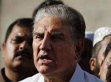 Pakistan's foreign minister Shah Mahmood Qureshi speaks to reporters in Multan, Pakistan