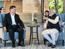 Mamallapuram: Prime Minister Narendra Modi with Chinese President Xi Jinping, at Fisherman's Cove in Kovalam near Mamallapuram , Saturday, Oct. 12, 2019. (Twitter/PTI Photo)(