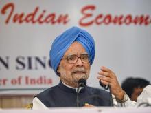 Congress senior leader and former prime minister Manmohan Singh addresses a press conference, in Mumbai. File Photo: PTI
