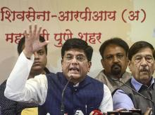 Pune: Union Minister Piyush Goyal addresses a press conference in Pune, Friday, Oct. 18, 2019. (PTI Photo)(