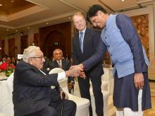 Union Commerce and Industry Minister Piyush Goyal with former US secretary of state Henry Kissinger