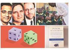 (Top, from left) Nobel laureates Abhijit Banerjee, Esther Duflo and Michael Kremer; deworming medications administered to Kenyan schoolchildren; (bottom, from left) randomised controlled trials; Banerjee and Duflo's 2011 prize winning book