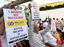 PMC Bank protest at Azad maidan in Mumbai (Photo: Kamlesh Pednekar)