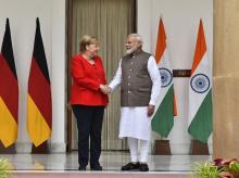 PM Narendra Modi and German Chancellor Merkel ahead of the 5th Indo-German Inter-Governmental Consultations