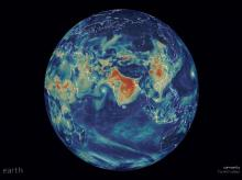 The red on the map shows high concentrations of fine particulate matter (Photo- earth.nullschool.net)