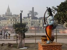A statue of Hindu god Rama stands beside the River Sarayu in Ayodhya | Photo: PTI