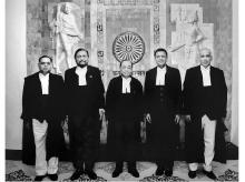 The group of five judges — Chief Justice of India Ranjan Gogoi (centre), flanked by (left to right) Justice Ashok Bhushan, Justice Sharad Arvind Bobde, Justice Dhananjaya Y Chandrachud, and Justice S Abdul Nazeer — after delivering the verdict at the