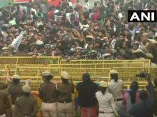 Delhi: Jawaharlal Nehru Students' Union organises protest over different issues including fee hike, outside university campus   Credits: @ANI