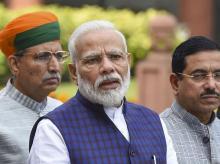 New Delhi: Prime Minister Narendra Modi addresses the media on the first day of the Winter Session of Parliament, in New Delhi, Monday,  Nov. 18, 2019    (PTI Photo/Atul Yadav)