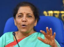Finance Minister Nirmala Sitharaman speaks to journalists after a cabinet meeting in Delhi (Photo: PTI)