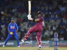 West Indies player Shai Hope plays a shot during the first One-Day International (ODI) cricket match between India and West Indies, at Chepauk Stadium in Chennai. Photo: PTI