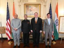 Rajnath Singh, Defence Minister of India, U.S. Secretary of Defense, Dr. Mark T. Esper, External Affairs Minister of India, S. Jaishankar and U.S. Secretary of State, Michael Pompeo