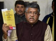 IT Minister Ravi Shankar Prasad addresses the media during a press conference on CAA and NRC issue at state BJP office, in Patna