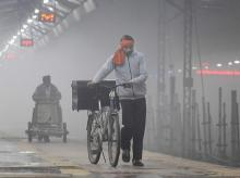 Winter, smog, fog, pollution, air, railways, climate