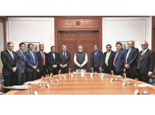 Prime Minister Narendra Modi (centre) with top business tycoons in New Delhi on Monday. Photo: Twitter