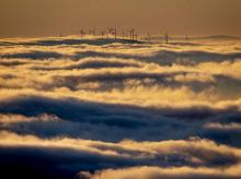 Windmill, clouds, clean, energy, renewable, climate change