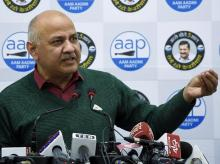 Delhi Deputy CM Manish Sisodia addressing a press conference in New Delhi. Photo: ANI