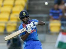 Sanju Samson plays a shot during the 4th T20 international between India and New Zealand in Wellington. Photo: AP | PTI