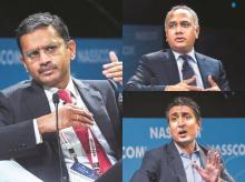 Tata Consultancy Services MD & CEO Rajesh Gopinathan, Infosys MD & CEO Salil Parekh and Wipro chairman Rishad Premji at Nasscom's leadership summit in Mumbai on Wednesday| Photo: PTI
