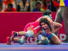 Divya Kakran in action at 2020 Asian Wrestling Championship   Photo: Twitter