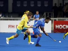 Indian hockey team captain Manpreet Singh in action