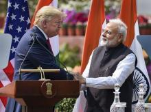Prime Minister Narendra Modi with US President Donald Trump at meeting at the Hyderabad House in New Delhi, Tuesday