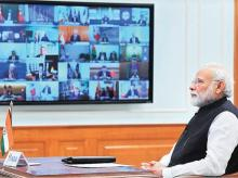 Prime Minister Narendra Modi interacts with fellow world leaders during the virtual G20 Summit, in New Delhi on Thursday. Photo: PTI