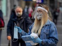 germany, coronavirus, frankfurt, face mask