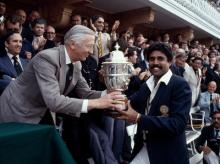 Kapil Dev and his side stunned defending champions West Indies, beating them by 43 runs in a memorable final at Lord's. Photo: @BCCI