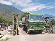INDIAN army trucks, border, LAC, china, ladakh