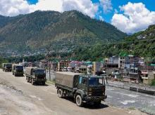 Army trucks move towards Ladakh in the midst of border stand-off. Photo: PTI