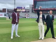 West Indies wins the toss and elects to bat first at Old Trafford. Photo:@Windiescricket