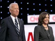 Joe Biden with Kamala Harris in July 2019 during the Democartic primary contest. (Photo: Bloomberg)