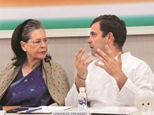 Sonia Gandhi to remain interim president for six months or longer until an All India Congress Committee (AICC) session is held to 'select or elect' a successor. Rahul remained non-committal on returning as party chief (Photo: PTI)