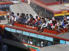 Bus, crowd, migration