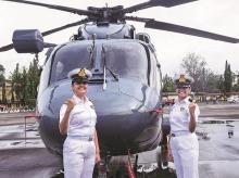 Sub-Lieutenants Riti Singh (left) and Kumudini Tyagi, iNDIAN NAVY, WOMEN, warships