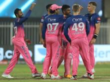 RR players celebrate the wicket of CSK player match 4 of IPL 2020 at the Sharjah Cricket Stadium. Photo by: Sportzpics for BCCI