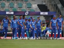 Delhi Capitals arrives on the ground for the start of DC vs SRH match at the Sheikh Zayed Stadium, Abu Dhabi in the United Arab Emirates on the 29th September 2020. Photo: Sportzpics for BCCI