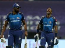 Kieron Pollard and Hardik Pandya during KXIP vs MI IPL match at the Sheikh Zayed Stadium, Abu Dhabi in the United Arab Emirates on the 1st October 2020. Photo: Sportzpics for BCCI