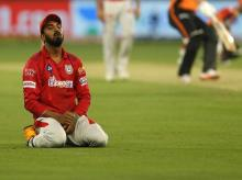 KL Rahul after missed a catch during SRH vs KXIP IPL match at the Dubai International Cricket Stadium, Dubai in the United Arab Emirates on the 8th October 2020. Photo by: Saikat Das / Sportzpics for BCCI