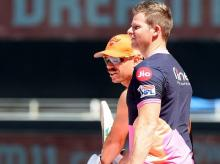 David Warner and Steve ahead of SRH vs RR previous match. Photo: Sportzpics for BCCI