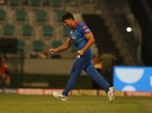 Marcus Stoinis celebrates the wicket of Kane Williamson of Sunrisers Hyderabad during the qualifier 2 match of season 13 of the Dream 11 Indian Premier League (IPL) at the Sheikh Zayed Stadium, Abu Dhabi. Photo: Sportzpics for BCCI