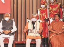Bihar Chief Minister Nitish Kumar, Deputy Chief Ministers Renu Devi and Tarkishore Prasad
