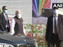 Prime Minister Narendra Modi arrives at the Zydus Biotech Park to review the development of #COVID19 vaccine