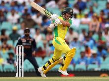 David Warner hits 39-ball fifty in the second ODI against India. Photo: @cricketcomau