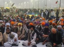Farmers at sit-in protest at Ghazipur border